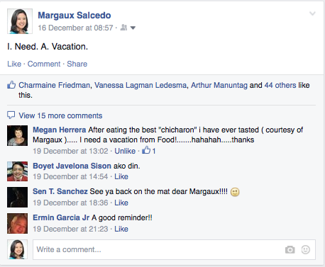 Margaux Salcedo Facebook Post December 2014