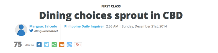 First Class, Inquirer, December 21, 2014