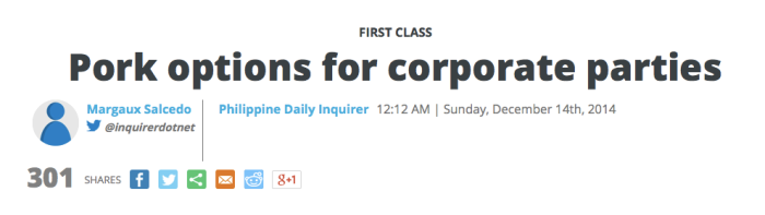 Margaux Salcedo First Class Inquirer Pork Options December 14, 2014 Sunday