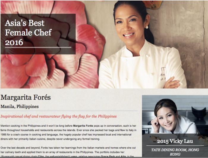 Margarita Fores, Asia's Best Female Chef 2015; Asia's 50 Best; World's 50 Best. Margaux Salcedo for margauxlicious.com.