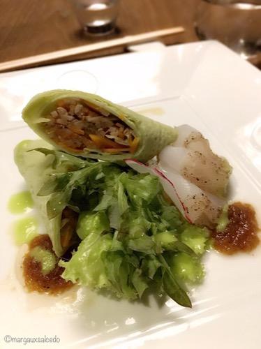 Ubod Salad Lapu Lapu Shiso Crepe with Jalapeno & Matsuhisa Dressing by Nobu