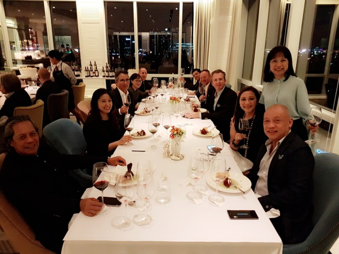 Left side, L-R: Jimmy Panganiban, Margaux Salcedo, Gigi Montinola. Right side, seated (R-L): Ernest Cu, Arlene Cu, Alexander van Beek of Chateau Giscours and Chateau Du Tertre, Chef Cyrille Soenen ... Chateau Giscours, Chateau Du Tertre, Grand Cru Classe Margaux at Mireio, Raffles Makati