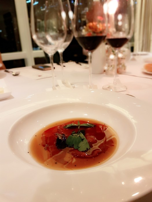 Beef carpaccio consomme by Chef Nicolas Gretin for Margaux at Mireio