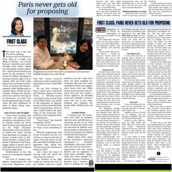 Margaux Salcedo, First Class, Inquirer column, food writer, Philippines, Nico Garcia, Goldee Salcedo, engagement, Le Jules Verne, Alain Ducasse, Michelin, Eiffel Tower, proposal, Tom Cruise