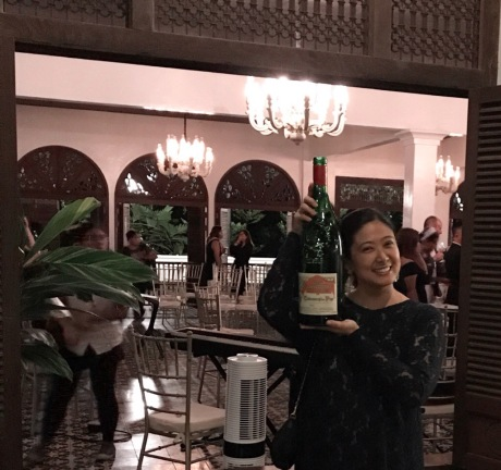 Margaux Salcedo appreciating Chateauneuf du Pape