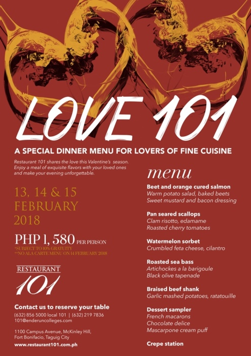 Valentine's at Restaurant 101 of the Alain Ducasse Institute at Enderun