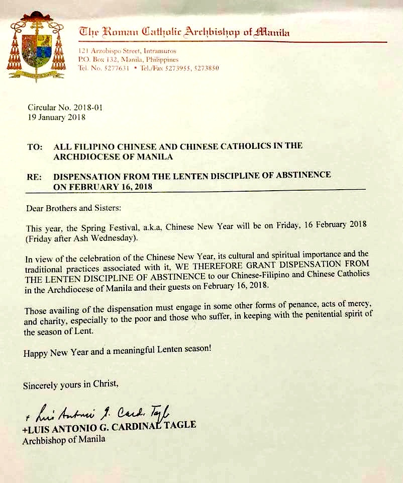Cardinal Tagle Dispensation for Chinese New Year