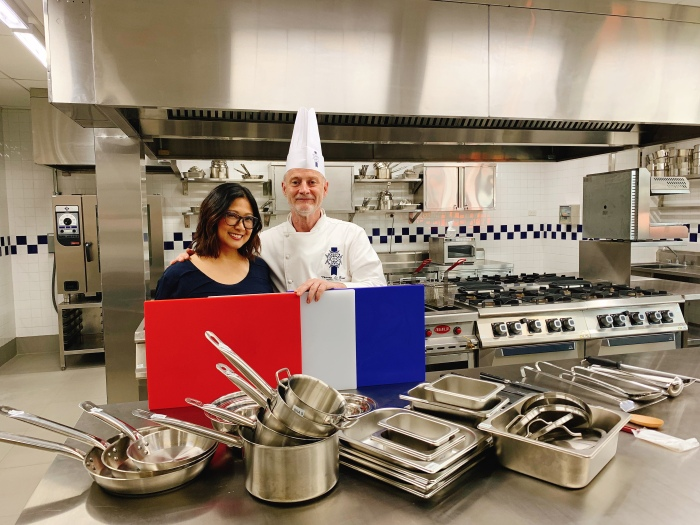 Margaux Salcedo with Chef Thierry Le Baut, Technical Director of Le Cordon Bleu Ateneo de Manila